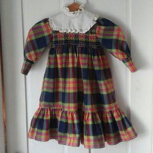 Cute smocked navy plaid ruffled bib vintage dress